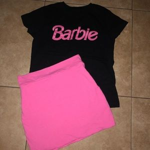 Hot pink mini skirt and barbie top
